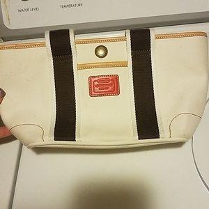 Cream Brown and orange coach handbag